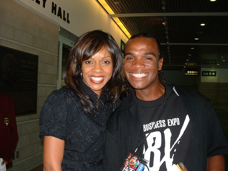 Wendy Raquel Robinson with So Lynn, Stage Manager. (And my son!)