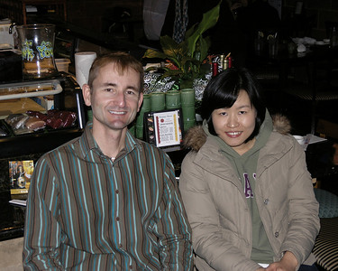 Dr. Kevin Dawson and Ms. Hee Jin Jun at Sushi Unlimited for Hee Jin's farewell dinner.