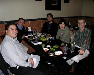 Dr. Fred Galvez, Dr. Rodriguez, UC Davis undergraduate, Phillip Kim, Hee Jin Jun and Dr. Kevin Dawson at Sushi Unlimited for Hee Jin's farewell dinner.