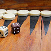 Frank Raposa's backgammon game at his home in Fitchburg. SENTINEL & ENTERPRISE/JOHN LOVE