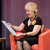 Barbara Foster receives a citation from Senator Jennifer Flanagan during the taping of the 40th anniversary of her show, Barbara & You on Tuesday evening. SENTINEL & ENTERPRISE / Ashley Green