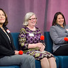 Mary Jo Bohart, Mary Heafy and Senator Jennifer Flanagan join Barbara Foster for the taping of her 40th anniversary show 'Barbara & You' on FATV on Tuesday evening. SENTINEL & ENTERPRISE / Ashley Green