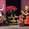 Barbara Foster (right) interviews Sam Squailia (left) during the taping of her 40th anniversary episode of Barbara & You, her show on Fitchburg Access Television. SENTINEL & ENTERPRISE / Ashley Green
