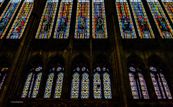 Details from the many Stained-glass Windows in the Saint-Etienne de Metz Cathedral