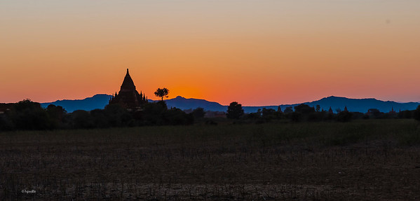 Silhouette of a Pagoda after sunset.
