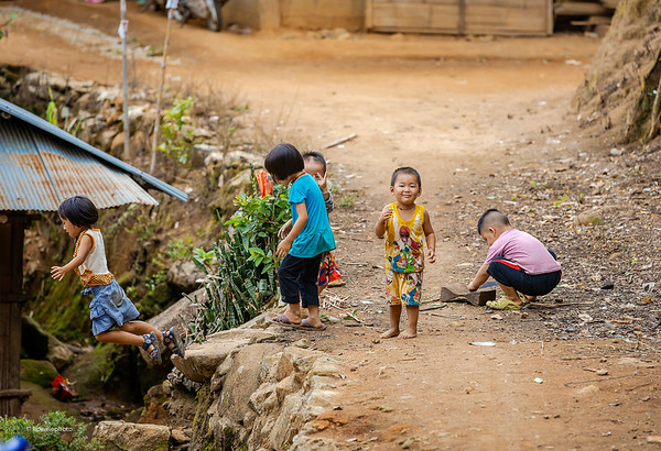 Hmong childen playing and jumping