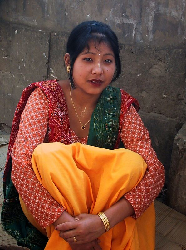 Young Woman Merchant on the Street in Imphal, Manipur. Northeast India.