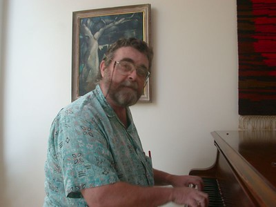 "The Reverend ""Geezer Don"" at the piano ~ Waldoboro, 2001"