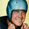 Color photo close up of Bill Dudley in a helmet (02675)