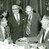 Bill Dudley at banquet with unidentified men, c. 1960