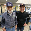 Billerica Senior Center volunteers Art Collier, 88, left, and Joe Duggan, 82, both of Billerica, after setting up the tables and chairs for weekly Bingo at the Senior Center.  (SUN/Julia Malakie)