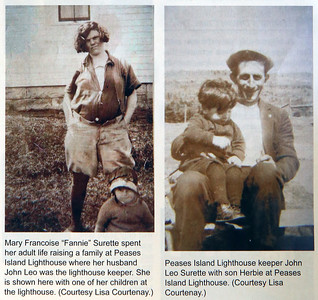 Two family photos published in Lighthouse Digest from Lisa Courtenay of Billerica, granddaughter of Jean Leo Surette, who was lighthouse keeper on tiny Pease Island in Nova Scotia from 1921-1952. Leo's wife Mary is pregnant in photo at left. Son Herbie, now deceased and his brother Joseph of Billerica, took over lighthouse keeping for a few years in the mid 1950s. (SUN/Julia Malakie)