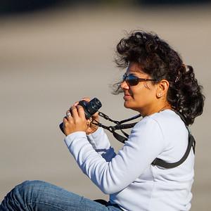 Leena looking for Snowy Plovers - Santa Cruz, CA, USA