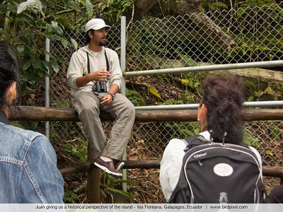 Juan giving us a historical perspective of the island - Isla Floreana, Galapagos, Ecuador