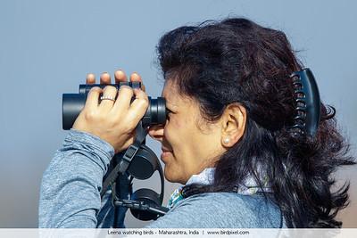 Leena watching birds - Maharashtra, India