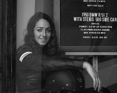 Biker Girl in Window - 1950 BMW R 51 period advert - The Goodwood Revival 2018