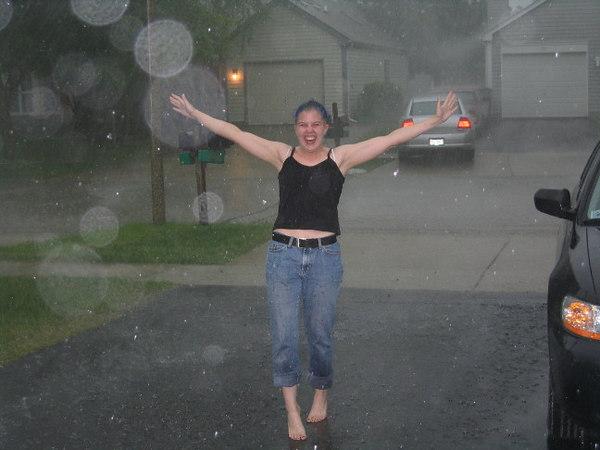 Carolyn enjoying the rain