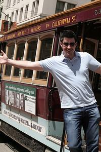 Riding a fake streetcar like a big tourist, San Francisco, April 2010.