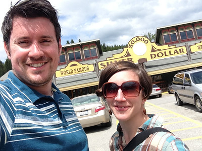 Brian and Jenny at the World Famous 50,000 Silver Dollar Bar in Haugan, MT, May 2013.