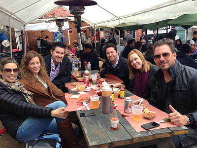 Tanya, Cathy, Brian, Michael, April and Jason brunching at La Barbecue in Austin, TX, March 2014.