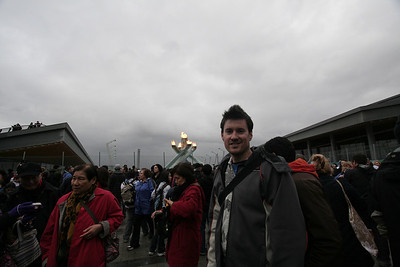 In front of the Olympic torch, Vancouver BC, January 2010.