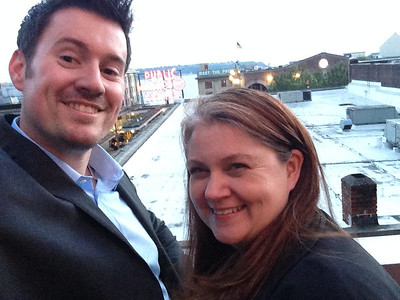 Rooftop deck at the Hard Rock Cafe Seattle with Katie, May 2014