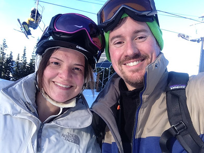 Jessica and Brian skiing at Stevens Pass WA, January 2014