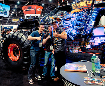 Brian and David meeting Tom Meents, driver of Maximum Destruction, at SEMA Las Vegas 2013