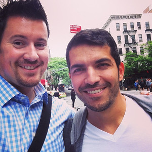 Brian and Sergio looking for lunch in Hell's Kitchen, Manhattan, May 2014.