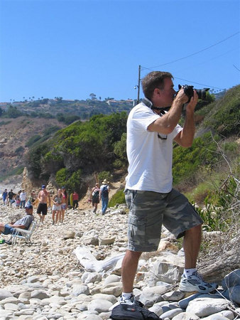 Me taking a photo of a natural spring flowing from the hillside in Palos Verdes CA.