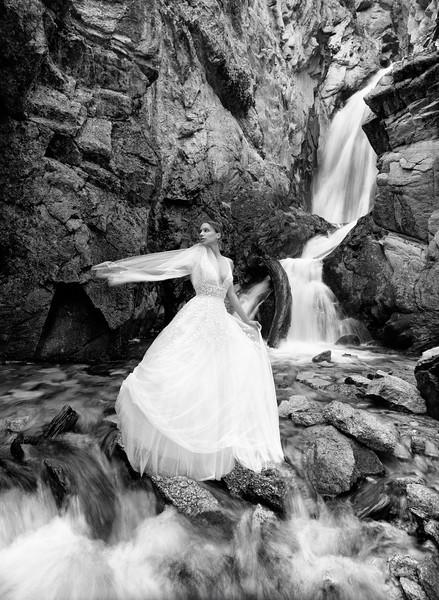 """""""Bridal Falls"""" (B&W)"""