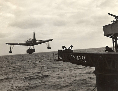 launching the spotter plane off the Pensacola