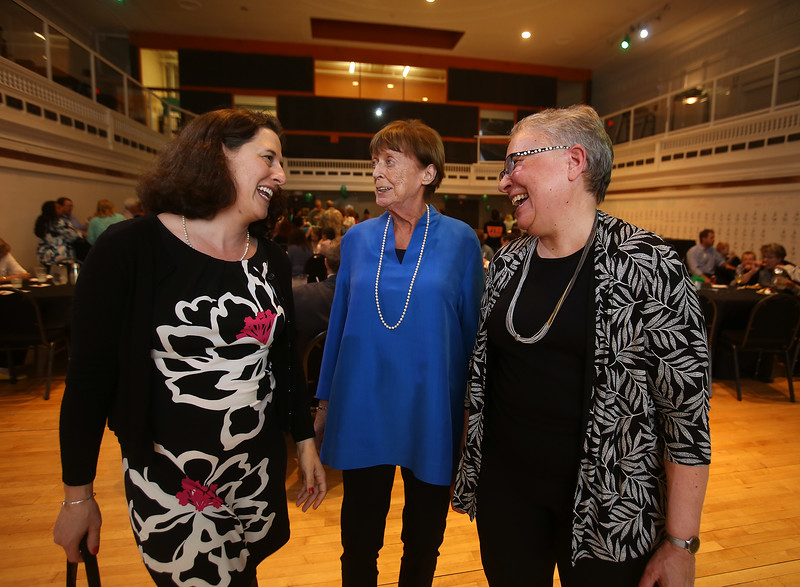 Budget Buddies celebrates its 10-year anniversary, honoring retiring co-founders Anita Saville, right, and Kathy Brough, center, both of Chelmsford, and introducing new executive director Danielle Piskadlo of Acton, left. (SUN/Julia Malakie)