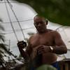... fishermen mending their nets.