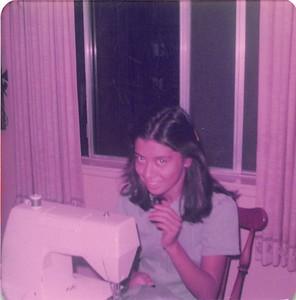 1970s Joyce at sewing machine
