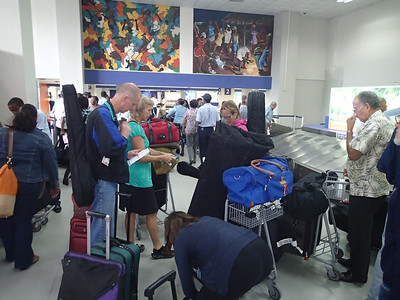 Collecting our gear (and donated musical instruments) at the Port-au-Prince airport.