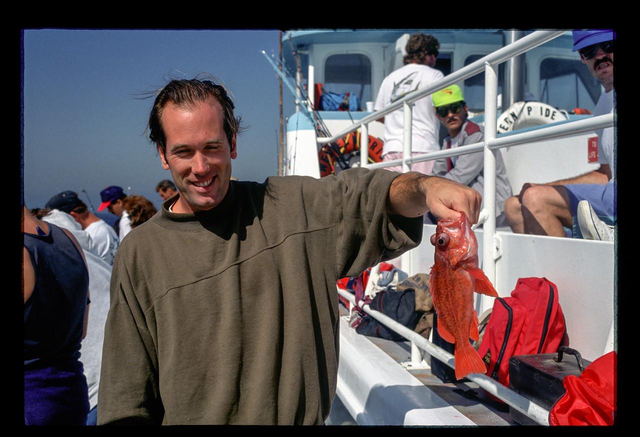 Keith Palmer on fishing charter - 1991