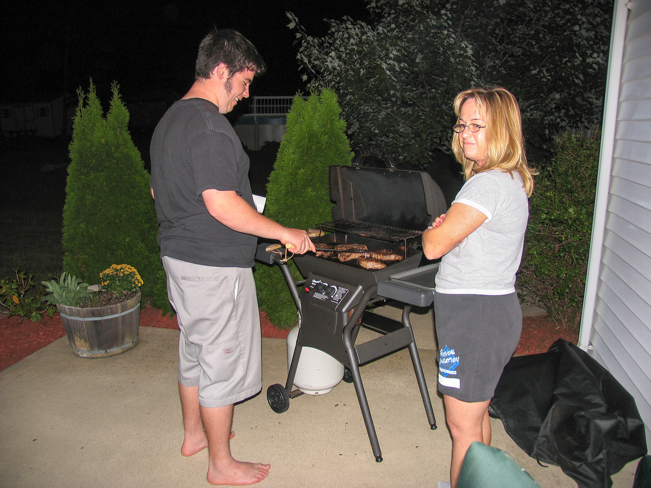 Jason grilling up some steaks - August 2005