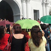 People in Cebu City waited outside the Cebu Cathedral for the start of the motorcade that will bring Pedro Calungsod's official image to the Mactan-Cebu International Airport. The image will be flown to Rome for Calungsod's canonization on October 21, 2012. (Sunnex)