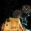 LIGHTING UP THE SKY.  Fireworks outside the Archbishop's Compound in Cebu mark the end of a procession in honor of the new San Pedro Calungsod. A large crowd gathered at the compound's covered court, where a video feed from the Vatican was projected to let people witness the canonization rites.  (Sun.Star Photo/Allan Defensor)