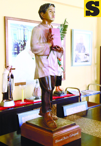 The official statue of Pedro Calungsod displayed at the residence of Cebu Archbishop Emeritus Ricardo Cardinal Vidal. (Sun.Star Photo/Ruel Rosello)