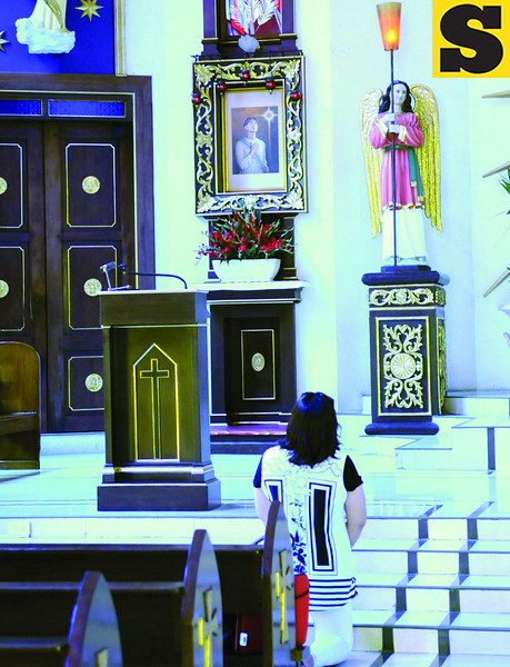 PEDRO'S DEVOTEE. A Pedro Calungsod devotee visits the Pedro Calungsod Parish after hearing about the news of the blessed's canonization in October.  (Sun.Star Photo/Allan Defensor)