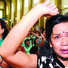 CEBU CITY. A Pedro Calungsod devotee cries during the visit of the Pedro Calungsod icon to the Guadalupe Church. (Amper Campaña)