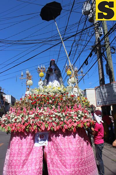 CEBU CITY. Outlifting the carroza of Sta. Rosa de Lima parish in Daanbantayan town cost P250,000, according to its decorator. (Davinci Maru)