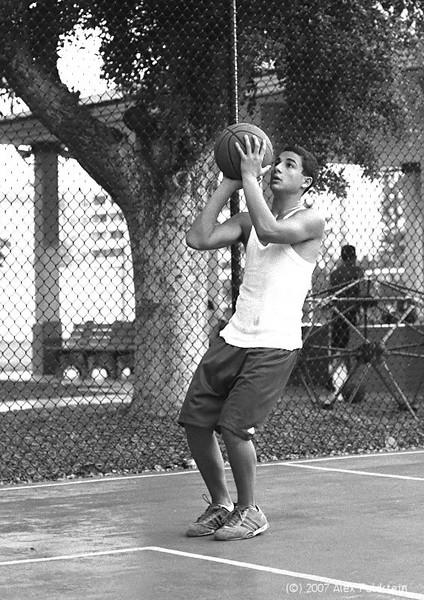 Hoops game at the park, Surfside, FL