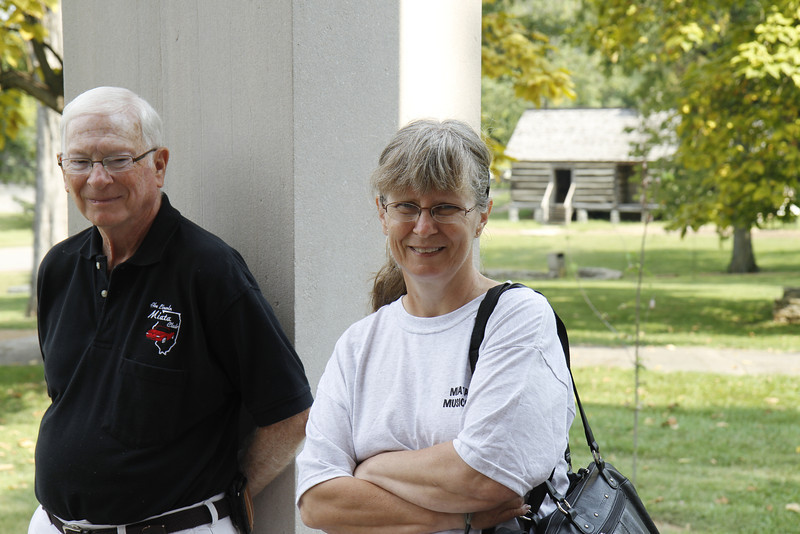 Jim and Cyndy standing outside the mansion at Belle Meade Plantation, TN.