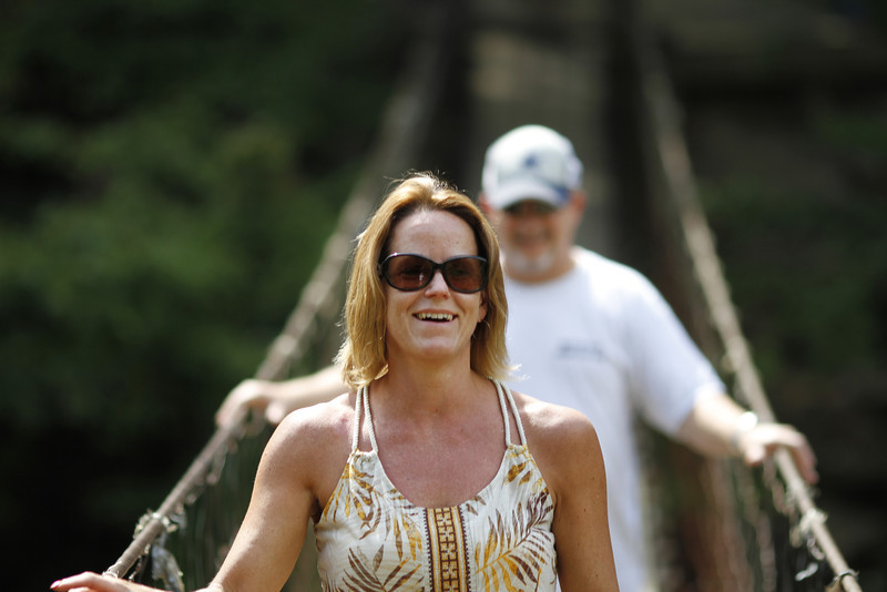 Dave and Shelia on the swinging bridge at Falls Creek Falls State Park, TN