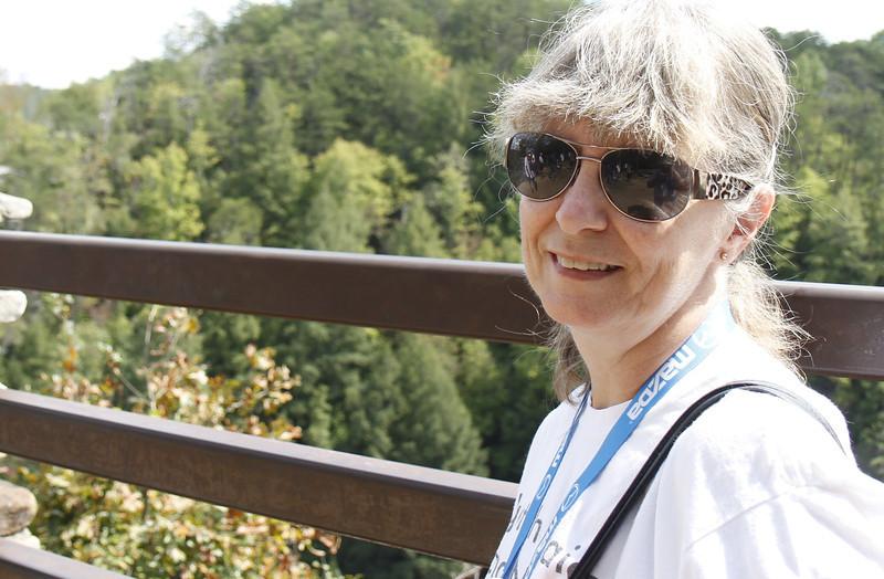Cyndy at the falls at Falls Creek Falls State Park