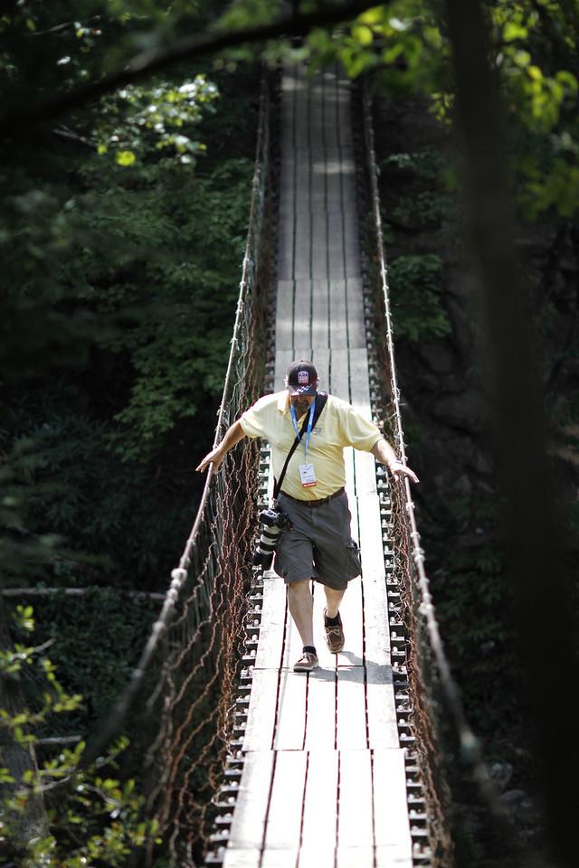 the swinging bridge at Falls Creek Falls State Park, TN