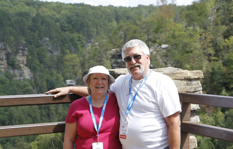 Bill and Donna at the falls at Falls Creek Falls State Park